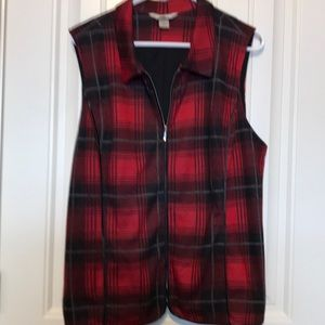 Red and black plaid vest.